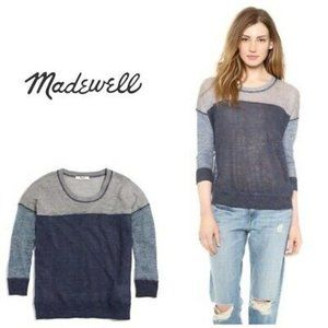 Madewell Outfield Colorblock Linen Blend Sweater